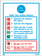 Jalite White Staff Fire Action Notice sign
